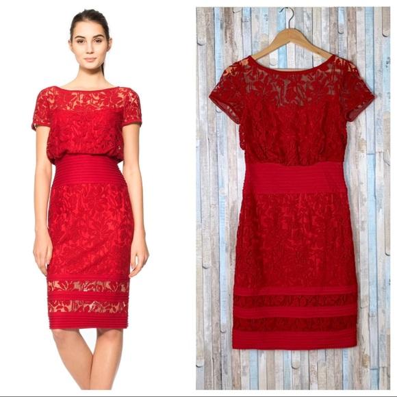 Tadashi Shoji 2 Red Embroidered Lace Blouson Dress